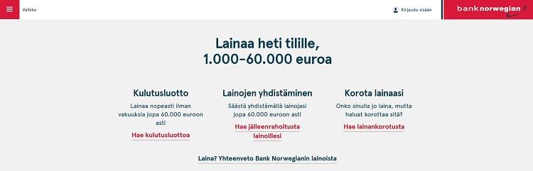 Lainaa kulutusluotto, yhdistä lainat ja korota lainaa: kaikki onnistuu Bank Norwegianilla